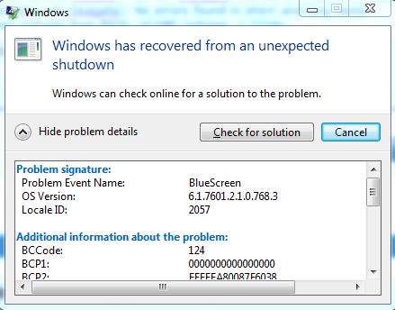 Efter en BlueScreen vil Windows vise denne dialogboks på encoderen.