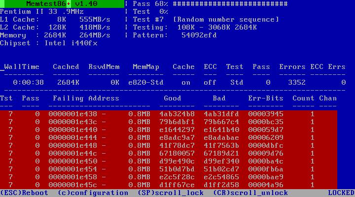 Fejl i MemTest86. Copenhagen Streaming benytter MemTest86 til at stabilitetsteste RAM i live-encodere. Billedet viser MemTest86+ (plus) som tidligere har været meget populær, men desværre ikke længere vedligeholdes.